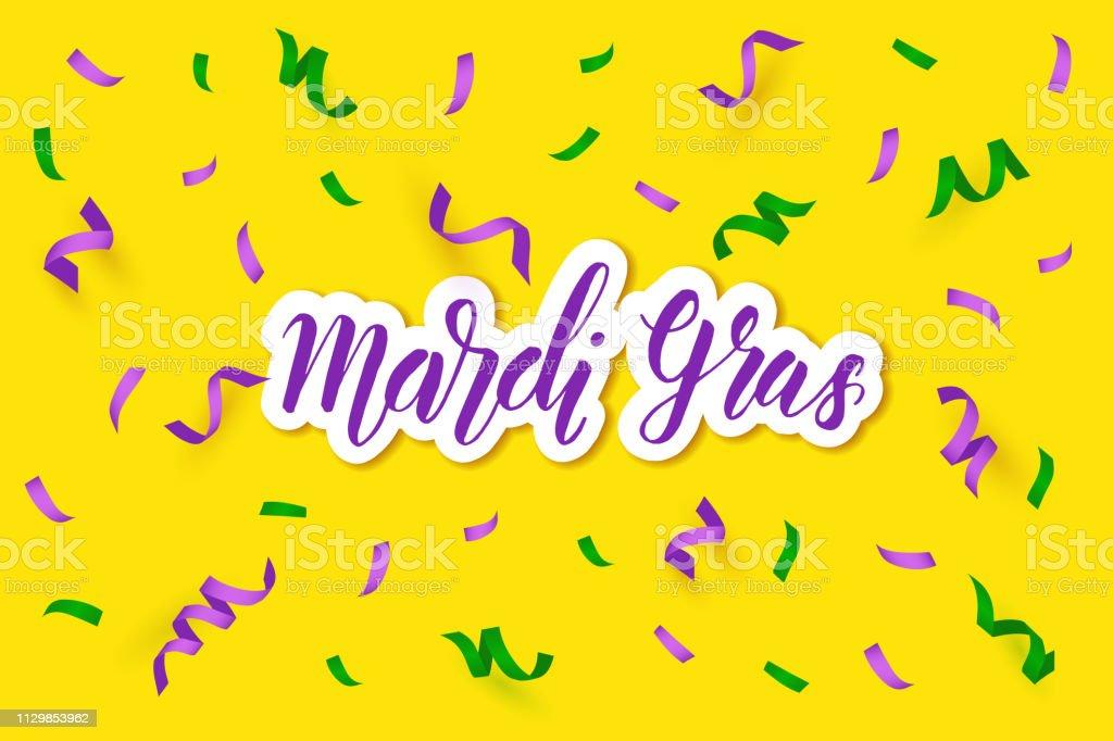 Ilustración De Mardi Gras Saludo De Fondo Con Serpentinas