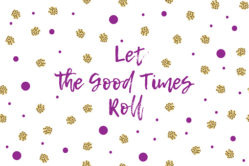 Mardi gras greeting card with violet and gold dots