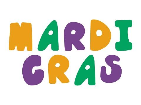 Mardi Gras hand drawn font words stock vector illustration