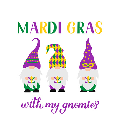 Mardi Gras hand lettering with cute Nordic gnomes. Fat Tuesday traditional carnival in New Orleans. Vector template for banner, flyer, poster, t shirt, sticker, etc