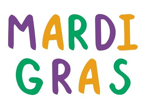 Mardi Gras handwriting font phrase colorful stock vector illustration