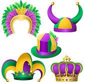Mardi Gras hats assortment. EPS10.