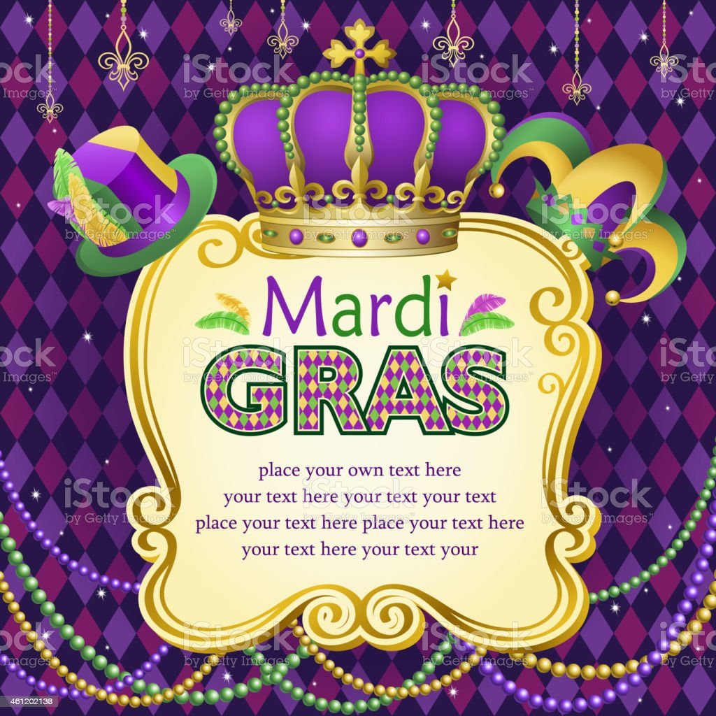 Mardi Gras Hats Frame vector art illustration