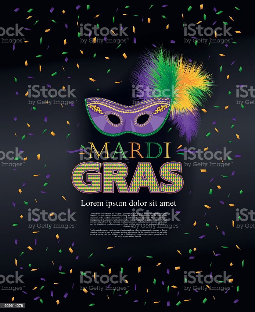 Mardi Gras holiday. Colorful carnival mask vector art illustration