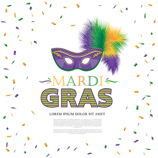 mardi gras holiday. colorful carnival mask - mardi gras stock illustrations, clip art, cartoons, & icons