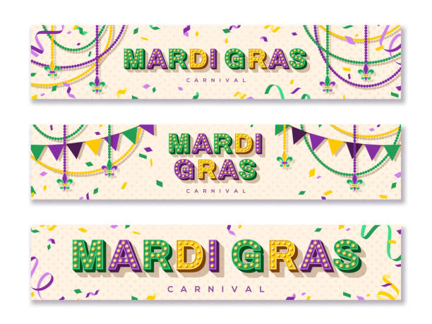 Mardi Gras horizontal banners Mardi Gras horizontal banner with typography design. Vector illustration with retro light bulbs font, streamers, confetti and hanging garlands bead stock illustrations