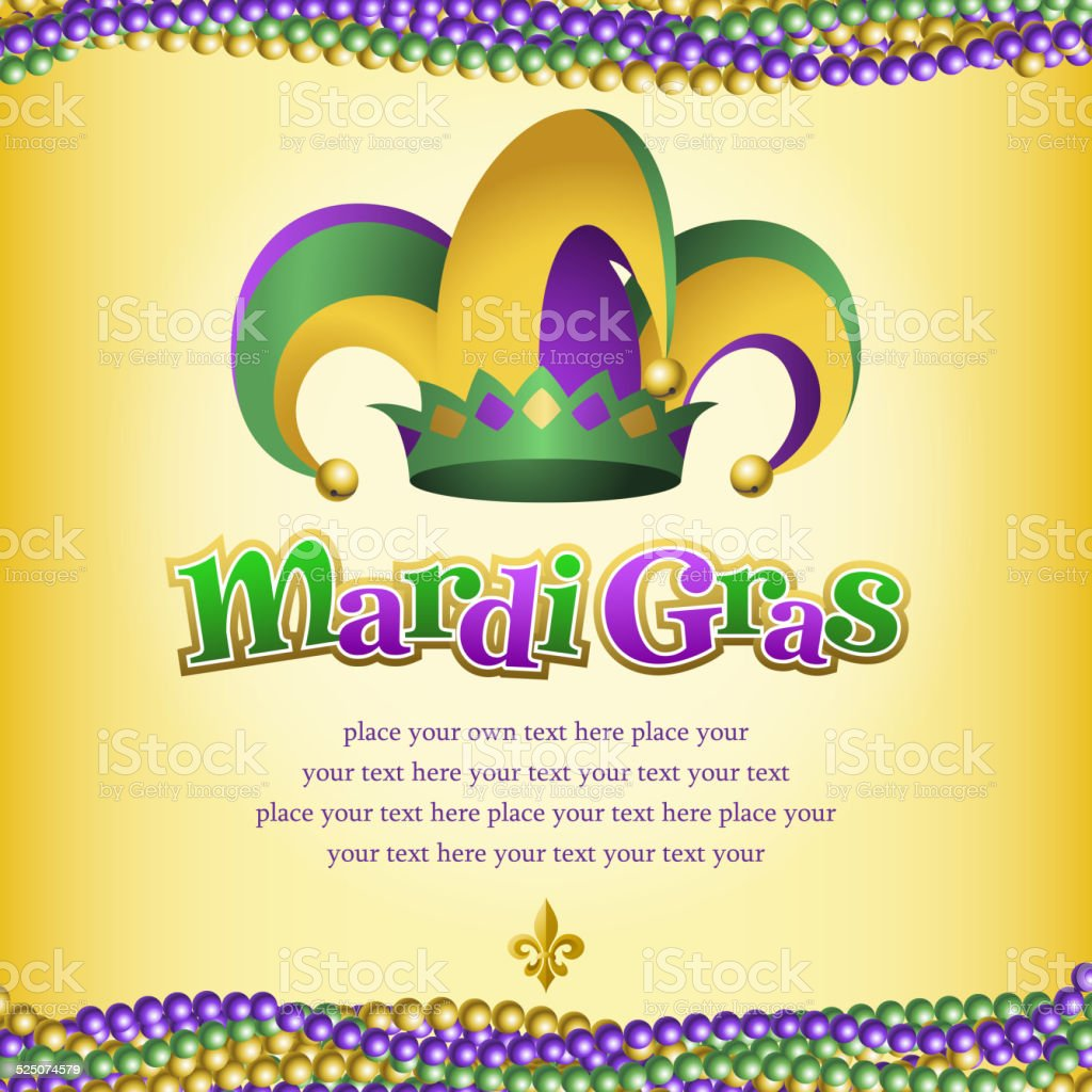 Mardi Gras Jester Hat and Jewelry vector art illustration