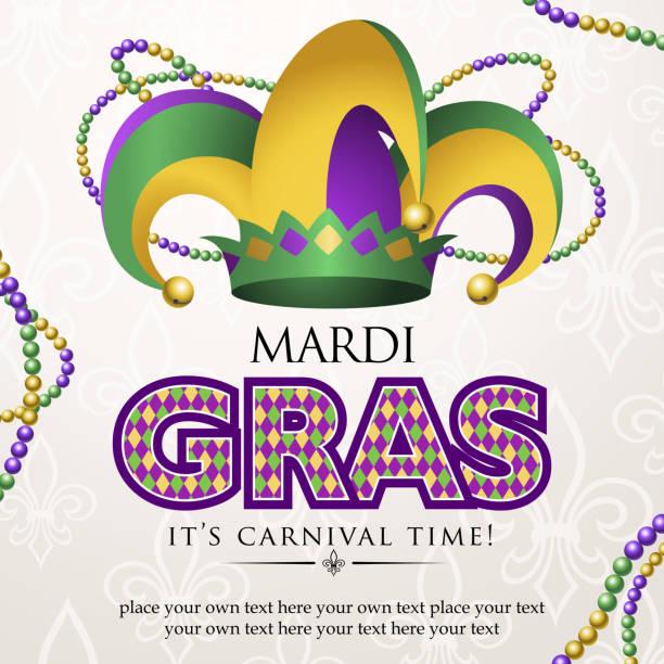 ilustrações, clipart, desenhos animados e ícones de chapéu de bobo da corte mardi gras de carnaval - mardi gras