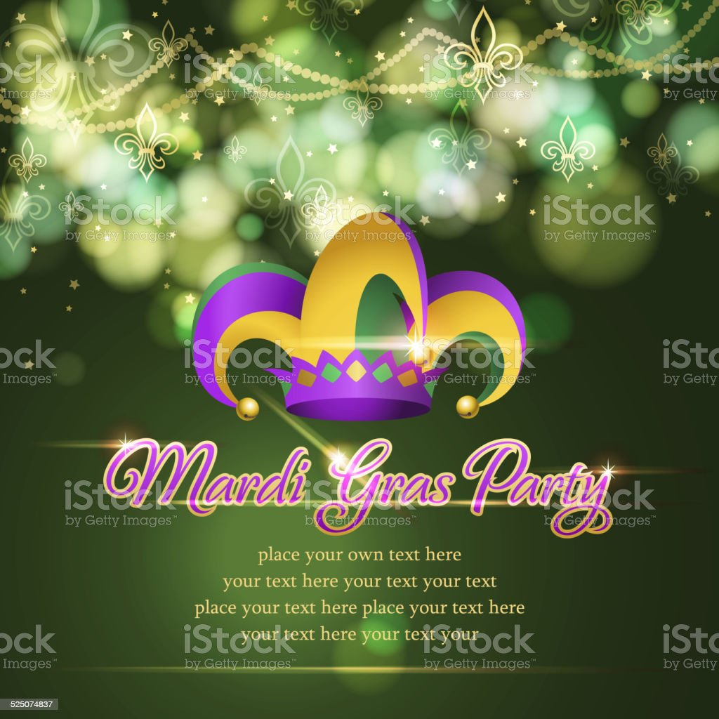 Mardi Gras Jester HAt Party Background vector art illustration