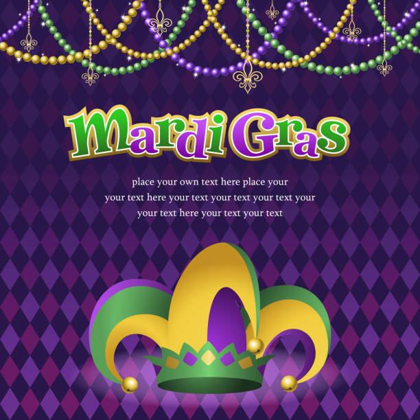 stockillustraties, clipart, cartoons en iconen met mardi gras jester hat with background - westers schrift