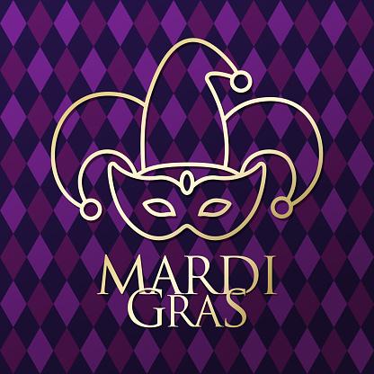 Mardi Gras Jester Mask Golden Icon