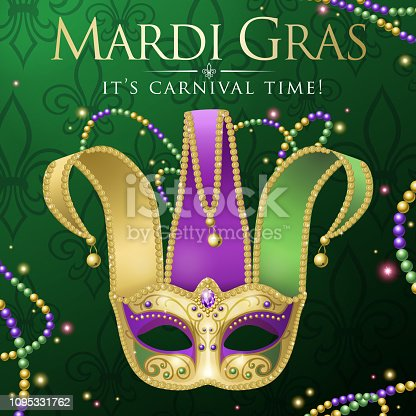 An invitation to events of Carnival celebration for the Mardi Gras with Jester Mask on the green colored background