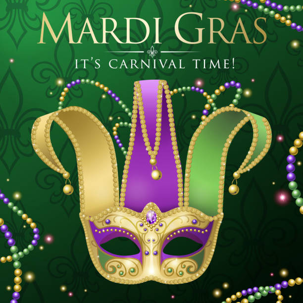 Mardi Gras Jester Mask Party An invitation to events of Carnival celebration for the Mardi Gras with Jester Mask on the green colored background mardi gras stock illustrations