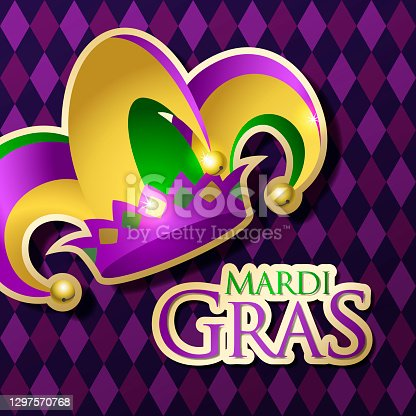 Celebrate Mardi Gras with jester's hat and typography on the purple color diamond shaped background