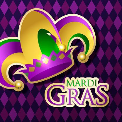 Mardi Gras Jester's Hat & Typography