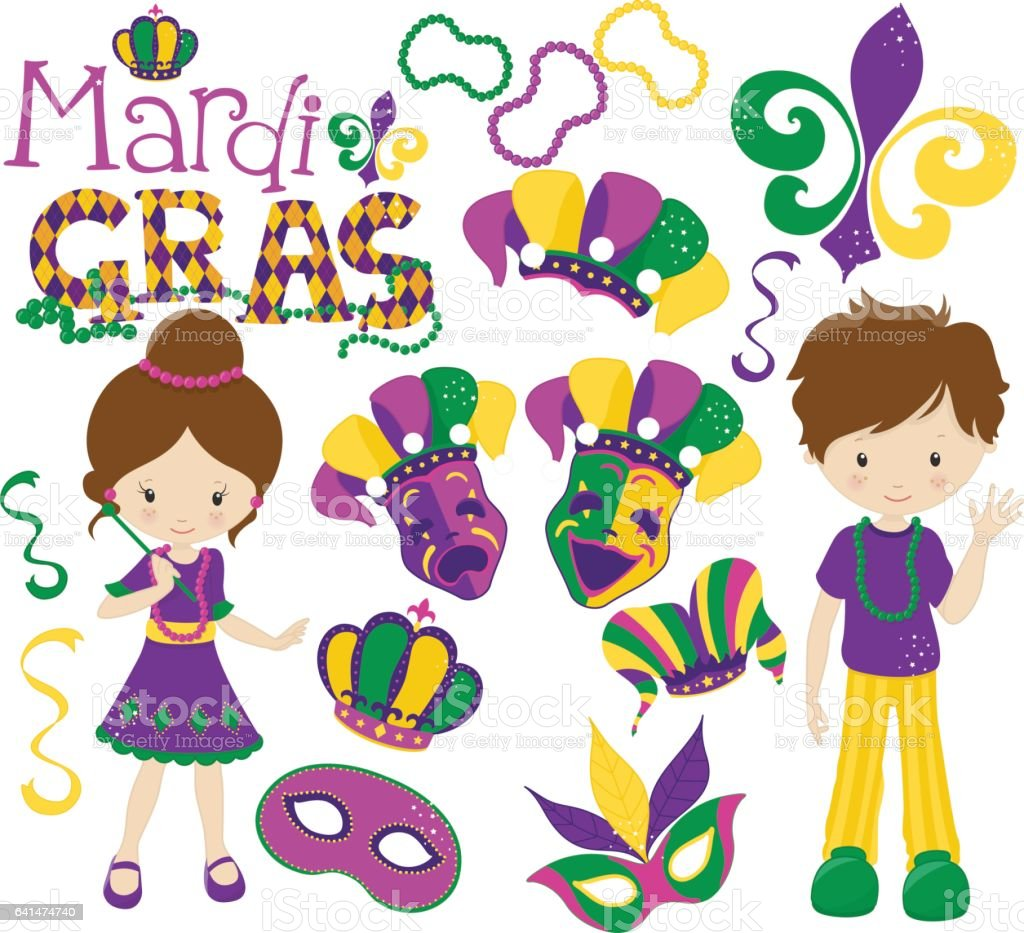 Uncategorized Kids Mardi Gras mardi gras kids costumes stock vector art 641474740 royalty free art
