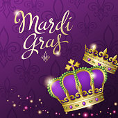 An invitation to events of Carnival celebration for the Mardi Gras with King and Queen Crowns on the purple background