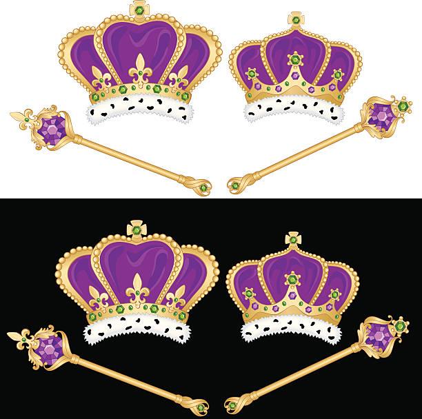 mardi gras & krönt mit king-size-bett mit queen-size-bett - pelzmäntel stock-grafiken, -clipart, -cartoons und -symbole