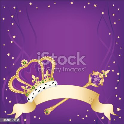 Vector illustration of a Mardi Gras king's crown with banner and background. Include ai8.eps & .jpeg file formats.