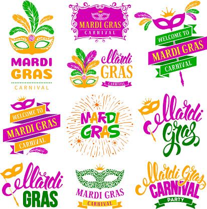 Mardi Gras labels set