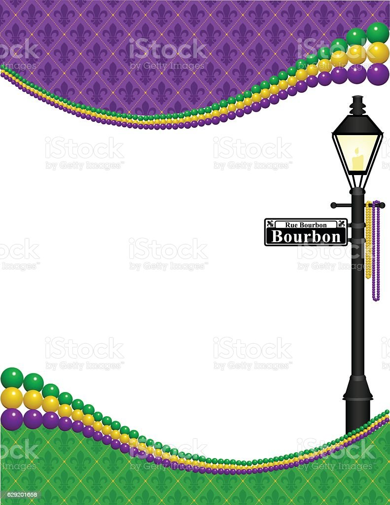 Mardi Gras Lamppost Frame vector art illustration