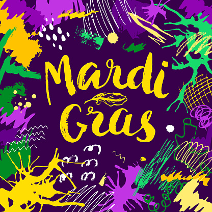 Mardi Gras lettering card