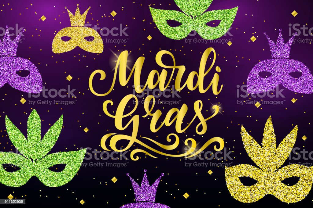 Mardi Gras Lettering Greeting Banner With Glitter Gold