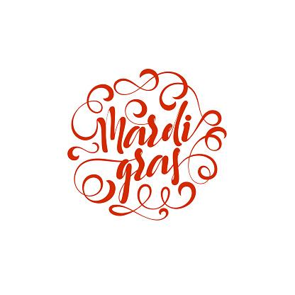 Mardi Gras lettering handmade.
