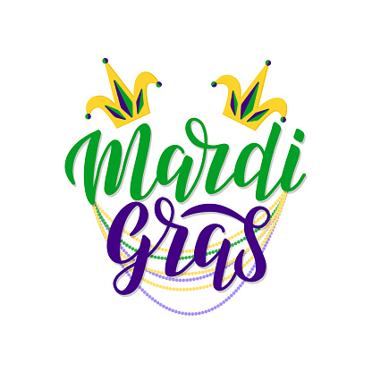Mardi Gras lettering logo decorated by two foolscap and traditional beads.