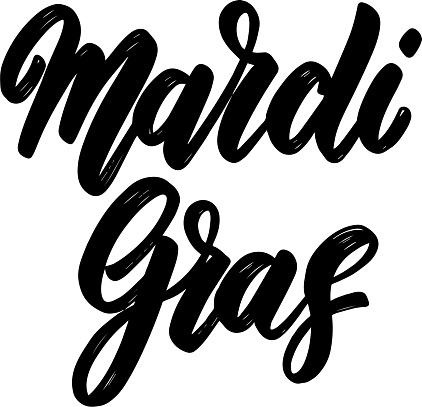 Mardi gras. Lettering phrase isolated on white. Design element for poster, t shirt, card, banner, emblem, sign. Vector illustration