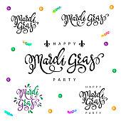Mardi Gras lettering set.