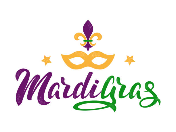 Mardi Gras lettering text Mardi Gras purple and green text with stars, masquerade mask and fleur-de-lis. American New Orleans Fat Tuesday poster, greeting card. Sidney Mardi Gras parade. Masquerade carnival lettering. Vector illustration. mardi gras stock illustrations