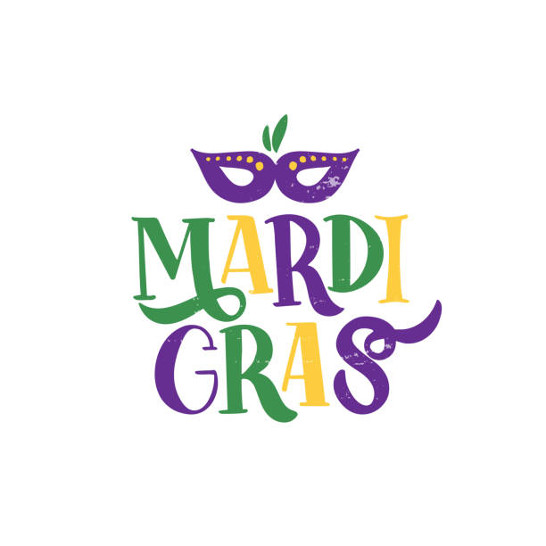 Mardi Gras lettering Hand drawn brush lettering Mardi Gras. Celebration text for carnival with traditional symbol mask. Element for , banner, flyer, greeting card. Vector illustration mardi gras stock illustrations