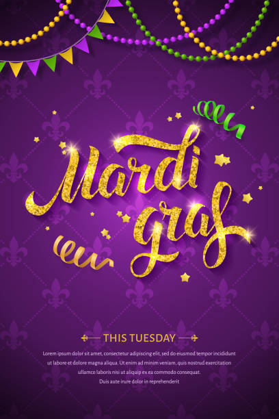 Mardi gras logo. Mardi gras logo with golden hand written lettering, beads, ribbons and stars on traditional purple background. Fat tuesday greeting card mardi gras stock illustrations