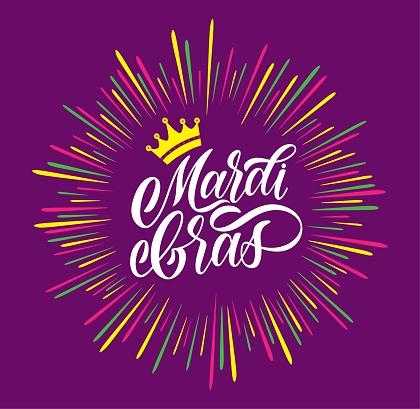 Mardi Gras logotype. Festival vector banner. Illustration with crown of Mardi Gras festival design on violet background. White lettering typography for logo, poster, card, postcard.