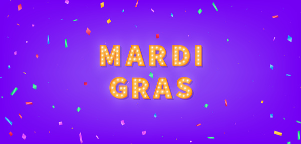 Mardi Gras marquee text. 3d light bulb text for Mardi Gras.