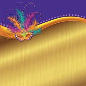 Wonderful vector background illustration with a colorful Mardi Gras Mask