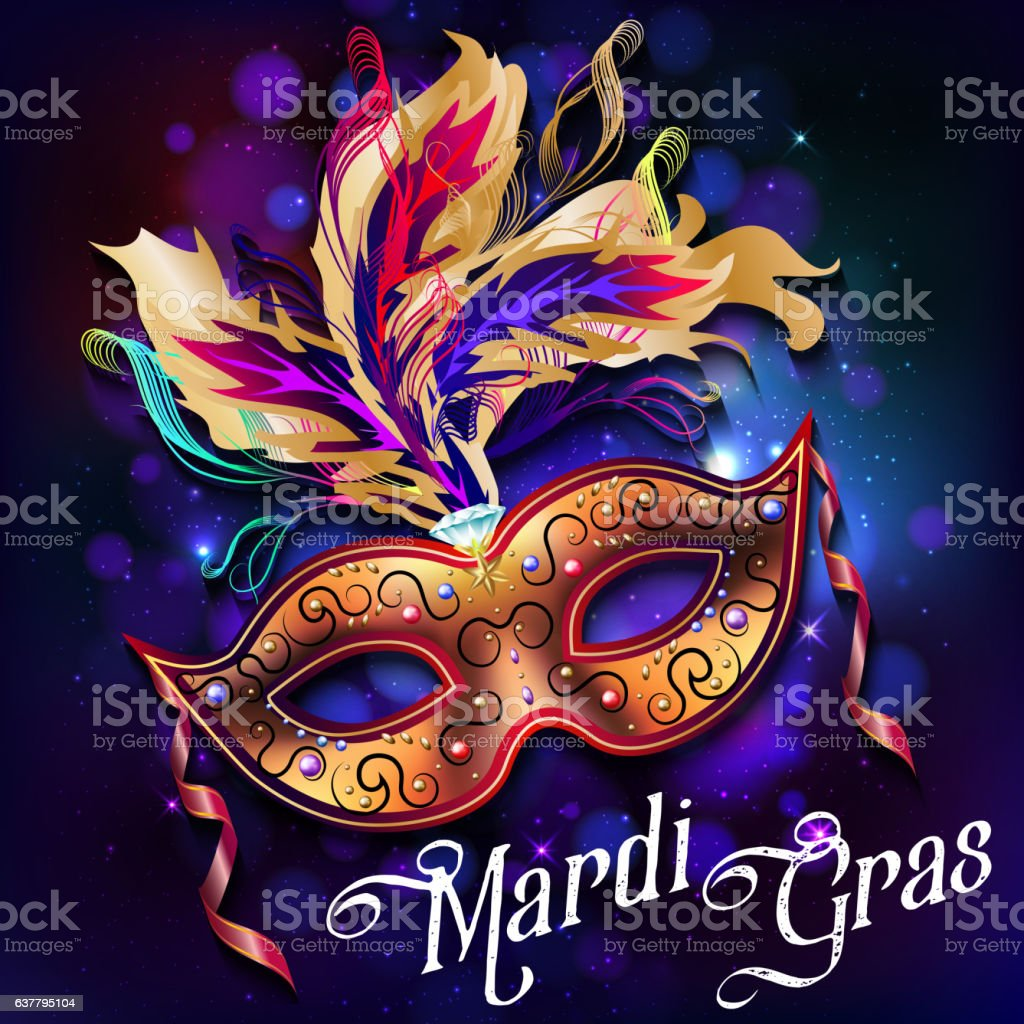 Mardi Gras Mask Colorful Poster Template Flyer Vector Stock Vector
