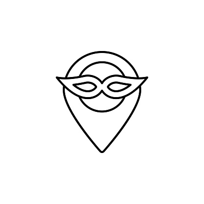 Mardi gras, mask, location icon. Simple thin line, outline vector of Mardi Gras icons for UI and UX, website or mobile application