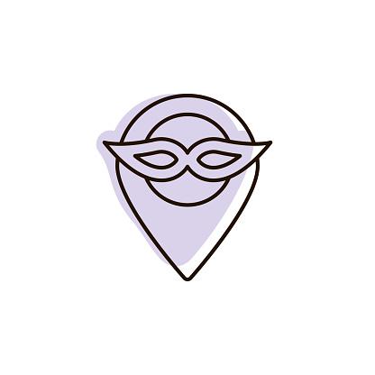 Mardi gras, mask, location with color shadow vector icon in mardi gras set