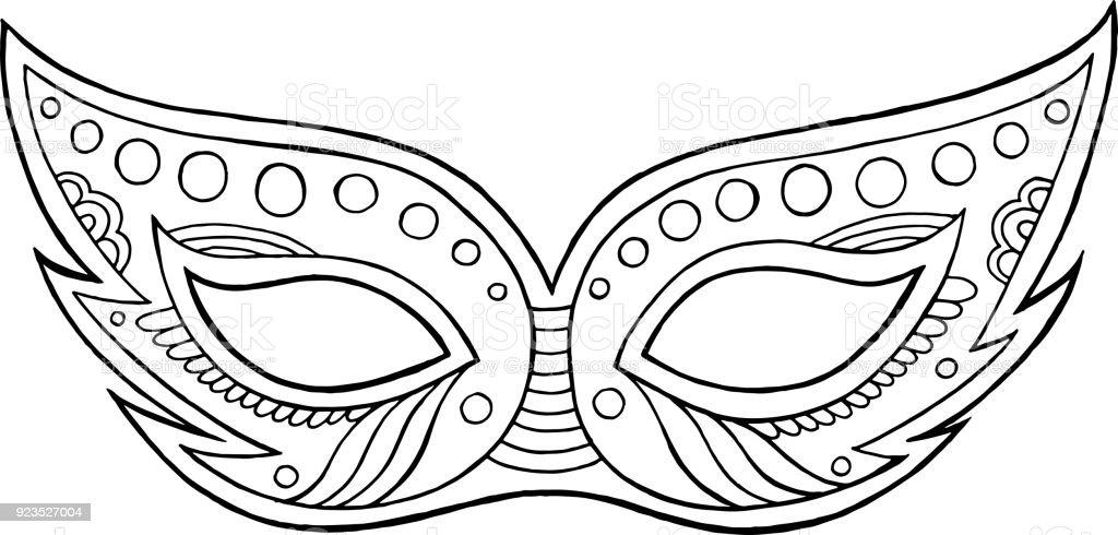 Ilustración De Máscara De Carnaval Elemento Aislado Del Contorno
