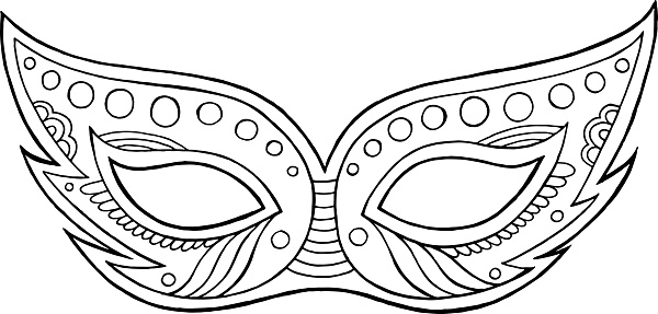 Mardi Gras mask - outline isolated element. Coloring page for adults. Vector illustration.