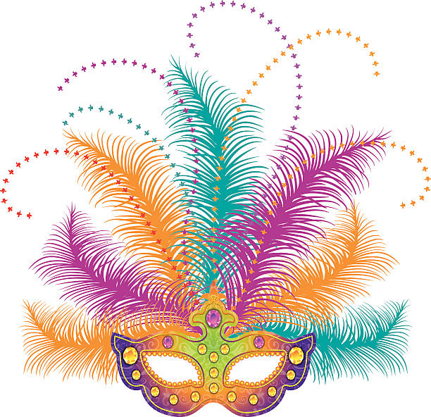 mardi gras mask - mardi gras stock illustrations, clip art, cartoons, & icons