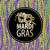 Join the party of Mardi Gras celebrations with mask and beads on the background