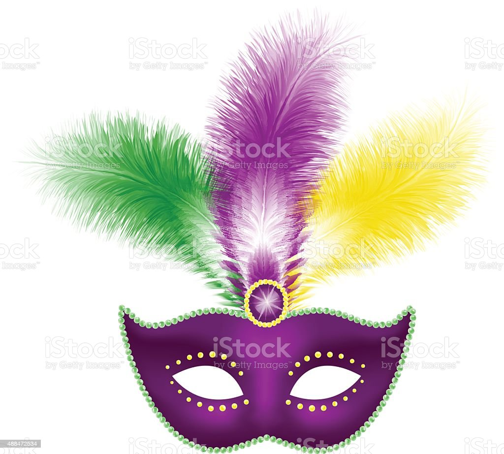 Mardi Gras mask with feathers vector art illustration