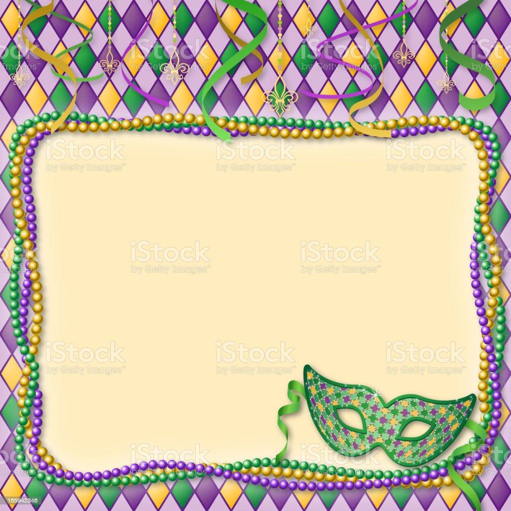Mardi Gras Masks & Beads Border royalty-free stock vector art