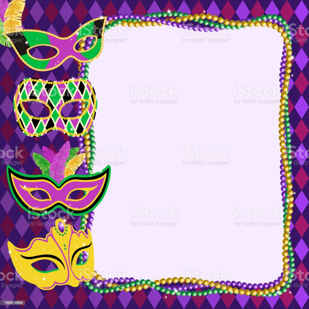 Mardi Gras Masks Frame Stock Vector Art & More Images of Anniversary ...