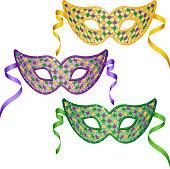 Mardi Gras masks set. EPS10.