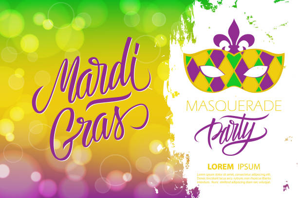 mardi gras masquerade party banner with calligraphic lettering text design, bokeh background and carnival mask. fat tuesday party. - mardi gras stock illustrations, clip art, cartoons, & icons