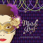 An invitation to the Mardi Gras Masquerade Party with a woman wearing mask and beads decoration on the purple diamond shape pattern